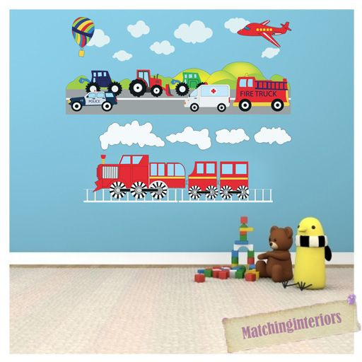 Transport Vehicles Cars Wall Stickers Decals Nursery Boys Bedroom - Boys car wallpaper designs