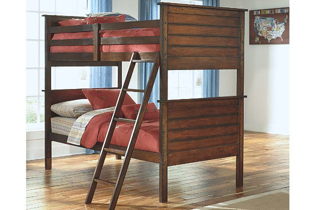 A Throwback To Simpler Times Ladiville Twin Bunk Bed Is Finished With Faux Plank And Chiseled