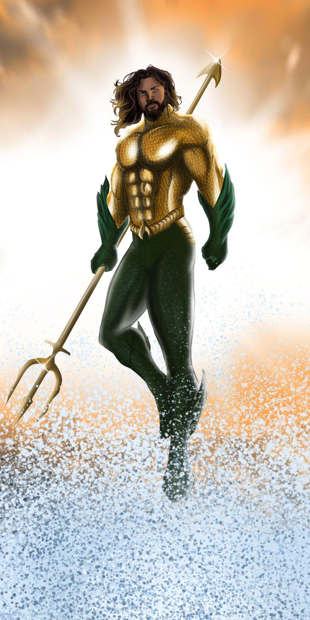 Aquaman superhero artwork fan art 1080x2160 wallpaper