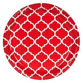 Red Quatrefoil Tableware Party Kit