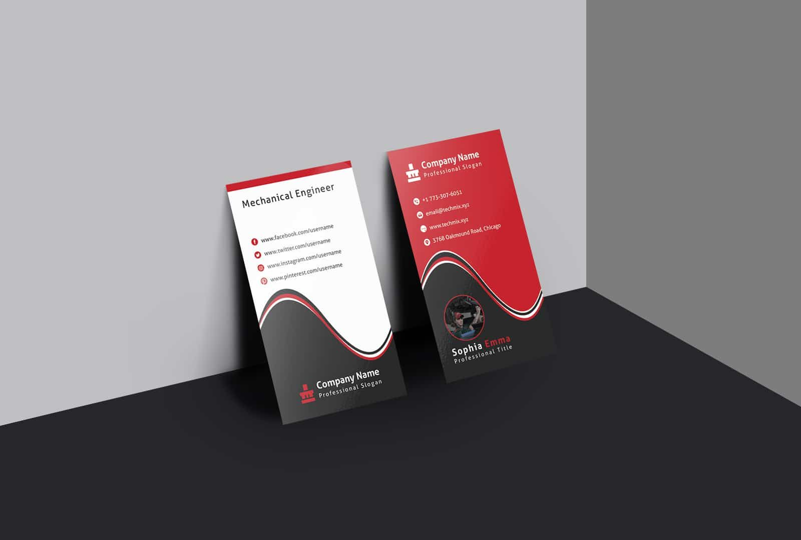 Mechanical Engineer Business Card Template Business Cards Collection Business Card Template Cool Business Cards