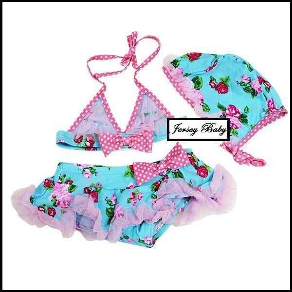 Girls Pink Blue Flower Lace Tutu Bikini Swimsuit Swimwear Hat 3pcs