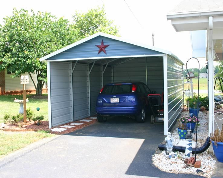 This A Frame Style carport has enclosed 3 sides with a