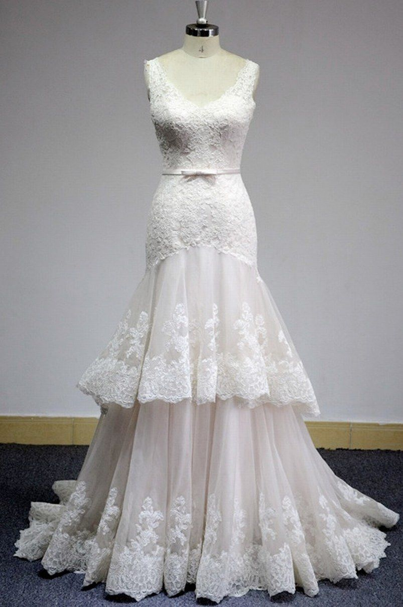 Mermaid lace wedding dress  Mermaid Lace Wedding DressTiered Skirt Lace Bridal DressDeep