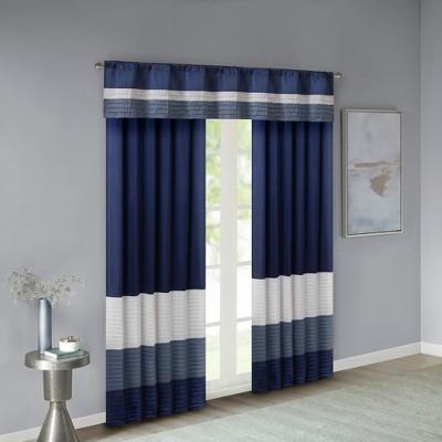 Salem Polyoni Pintuck Window Valance Navy 50 X18 In 2020 Panel Curtains Curtains Valance