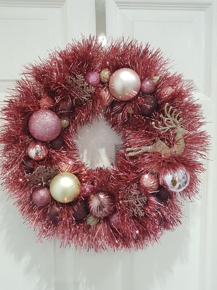 Christmas Wreath Tinsel Wreath Pink And Gold Wreath