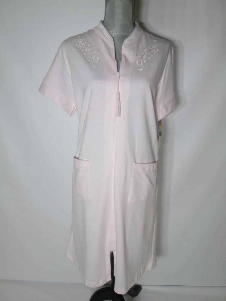 Miss Elaine Women\'s Small Gown Tassel Zip Pink Short Sleeve S 368403 ...