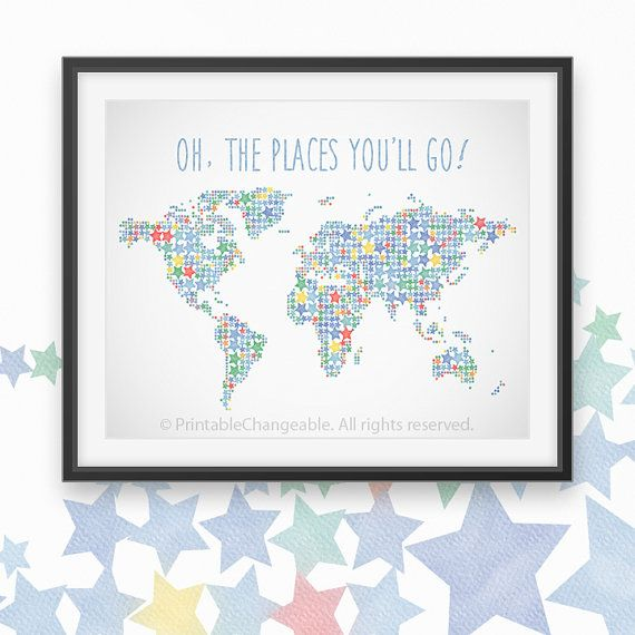 Large World Map Poster Adventure Awaits Nursery Decor Watercolor - Large world map for kids