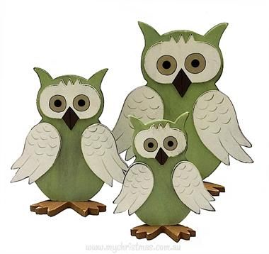 Green Wooden Owl, small