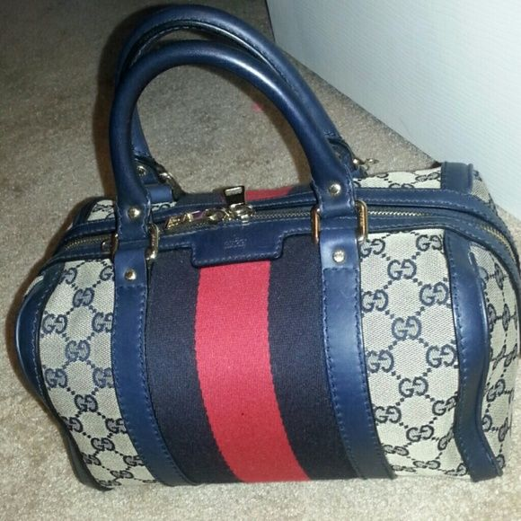 36009bb61ea9 Gucci vintage web Boston speedy blue/ red original GG canvas with blue  leather trim and blue/red/blue signature weblight gold hardwaresmall size:  10.2