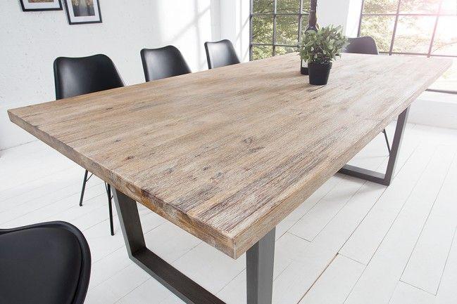 Tisch Industrial massiver esstisch wotan akazie 160cm massivholz tisch teakgrau