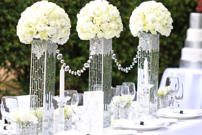 Diamonds In The Garden Wedding Styling Centerpieces Tall