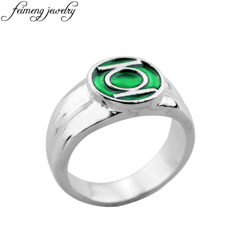 Super Hero Green Lantern Ring High Quality Enamel Superhero Logo Rings For Women Men Fashion