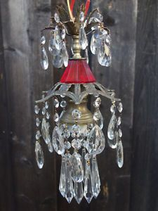 Details about 1 spelter hanging lily petite lamp chandelier crystal 1of2 vintage ruby spider spelter brass hanging lamp chandelier crystal prisms ebay mozeypictures Gallery