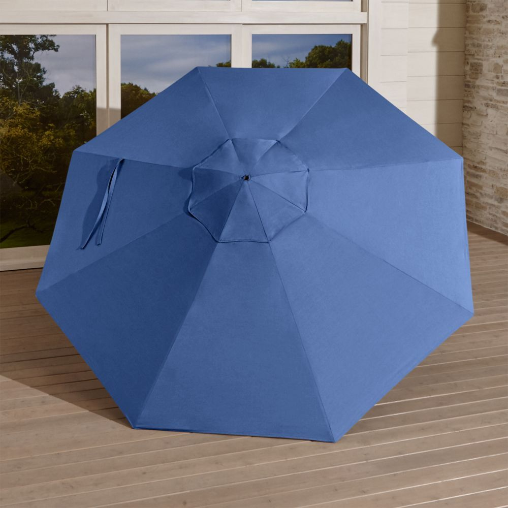 9' Round Sunbrella ® Mediterranean Blue Umbrella Canopy - Crate and Barrel