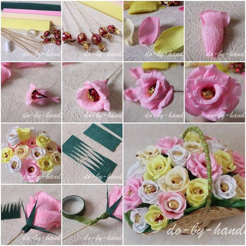 How to make paper roses with chocolate candies step by for Flower making ideas step by step