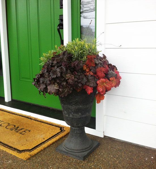 Building A Dream House Front Porch Container Gardenswhats Behind The Green Door