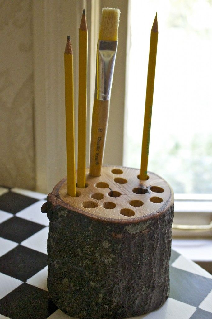 Pencil holder from tree branch i have 1 day to figure out Cool pencil holder ideas