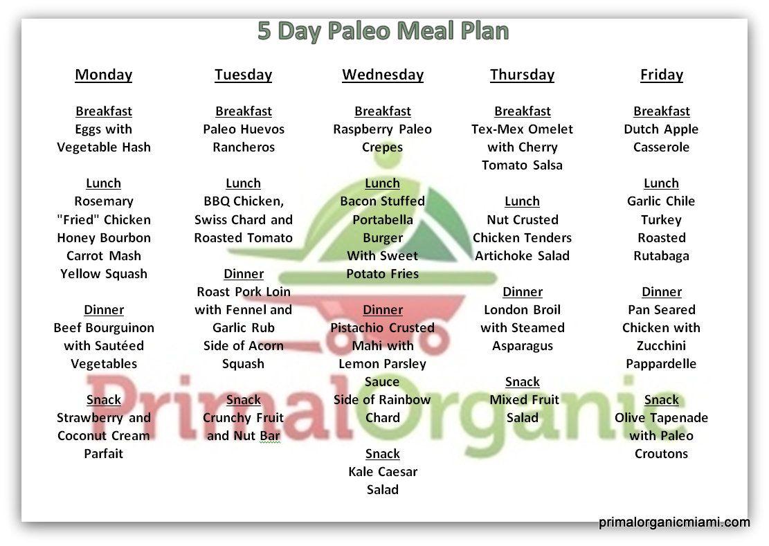 5 Day Paleo Menu From Www Primalorganicmiami Com Paleo Meal Plan Paleo Meal Delivery Paleo