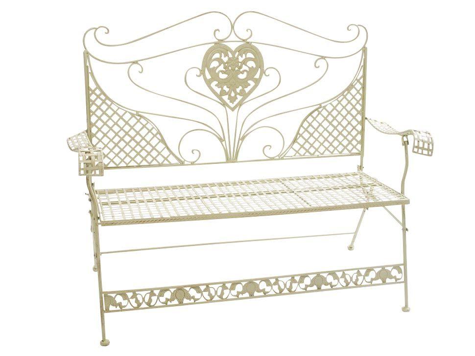 Gartenbank aus Eisen hergestellt und weiß gestrichen. Das ...