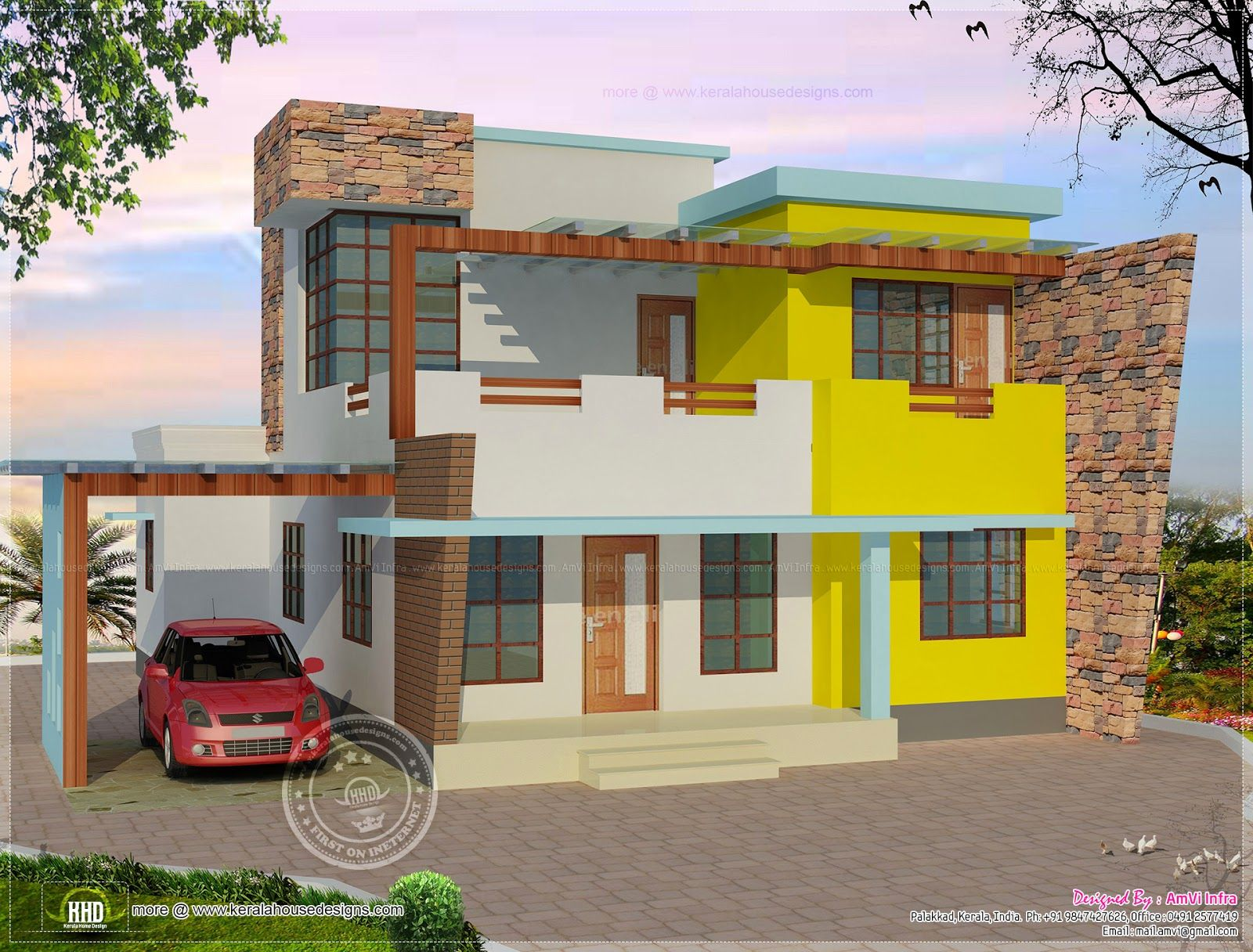 Floor Plan And Elevation Of Flat Roof Villa