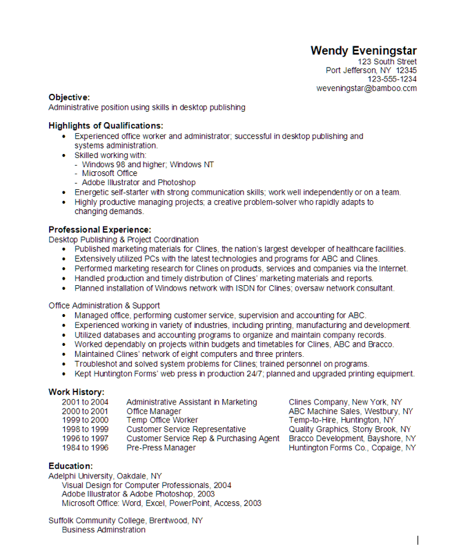 administrative desktop publishing resume sample