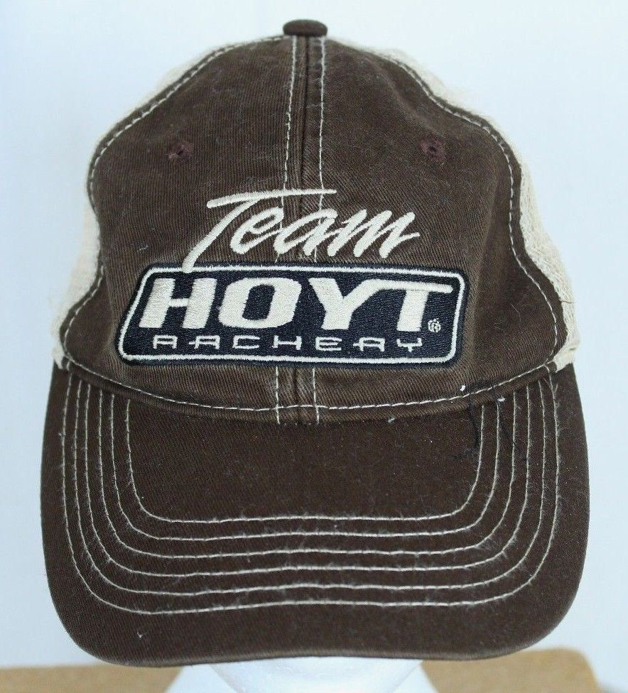 4b9a833f795 Team Hoyt Archery Distressed Brown Mesh Snapback Ball Cap Trucker Hat  Hoyt   BaseballCap