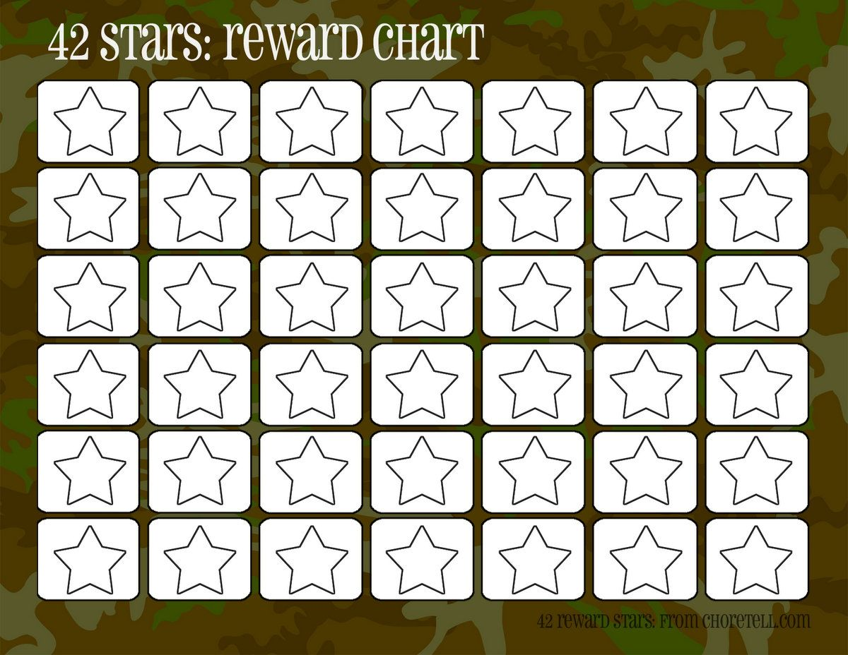 Camo rewards charts 42 stars – Blank Reward Chart