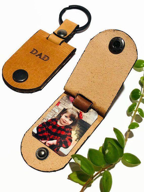Personalized Daddy keychain with hidden picture in choice of leather color | Father's Day gift #grandpagifts