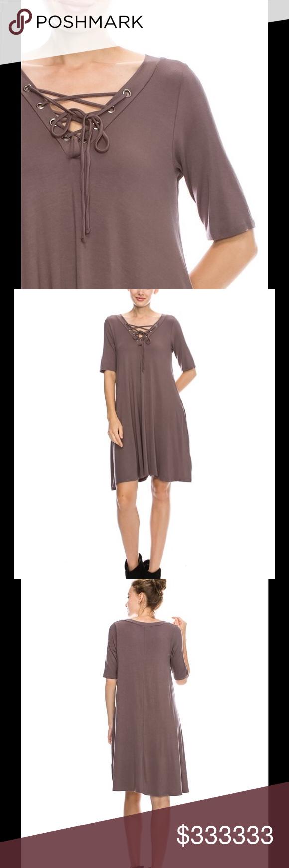 fbdf5a43c318 濾Lace up dress mocha ❤️has pockets Boutique