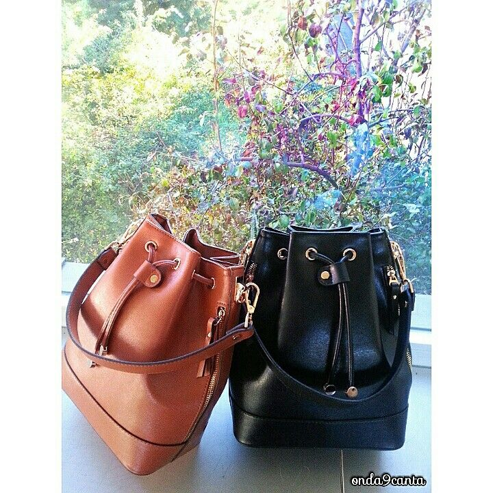Photo of Bucketbag / Shirred Bag Black and Camel Matthew Cox Mar …