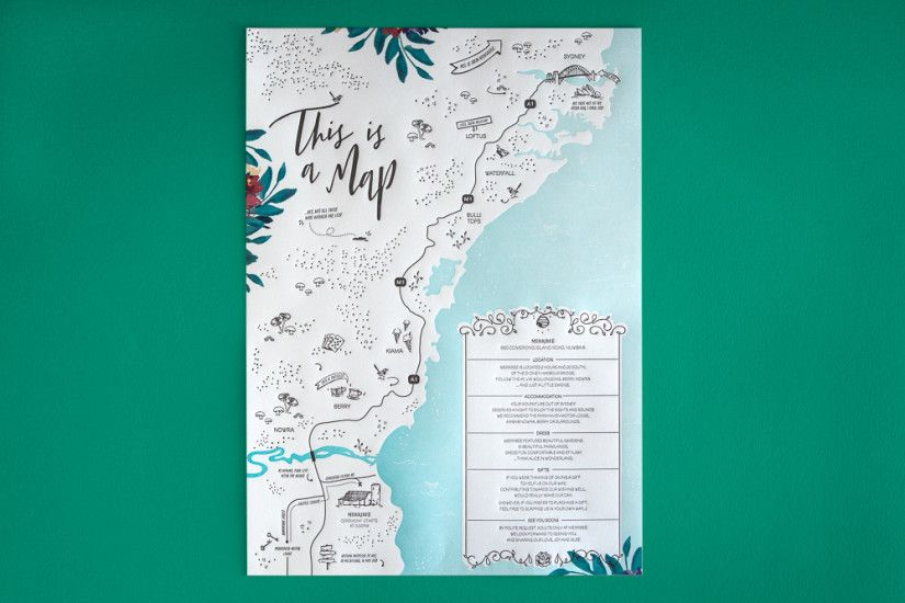 1. The Distillery // Numbaa Wedding Theme ~ Love the deep colours of the floral borders (not so visible in this image). Such a delightful little map of the venue, with all its details which will doubtless make the recipient look over it again and again. I wonder what it would have looked like if the sea were a deep blue-green instead of light blue to contrast with the plainness of the map...more striking? Or too striking?