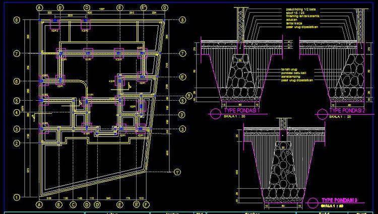 Download Autocad Rumah Denah Gambar Gambar Kerja 2 Pondasi Lantai Kerja Download Rumah Rencana Lantai Denah Rumah Autocad