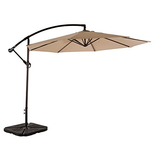 Amt 10 Ft Deluxe Offset Cantilever Hanging Patio Umbrella Polyester Pa Coating Waterproof