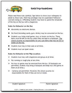 Need A Set Of Field Trip Guidelines Feel Free To Modify For Your Own Class