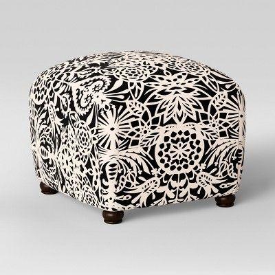 Terrific Poppy Ottoman Black White Floral Opalhouse White Black Evergreenethics Interior Chair Design Evergreenethicsorg