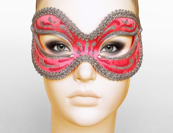 Bright Coral Pink Masquerade Mask    Shimmering Silver by SOFFITTA, $36.50