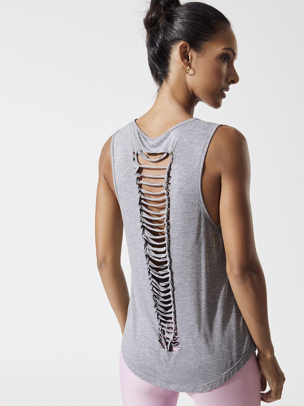 823321c112a0f Carbon38 Pearl Tank - Heather Grey - Fashion Activewear Running - Heather  Grey