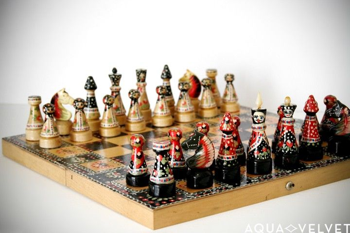 vintage Russian chess set - love the painting on these... could be any theme