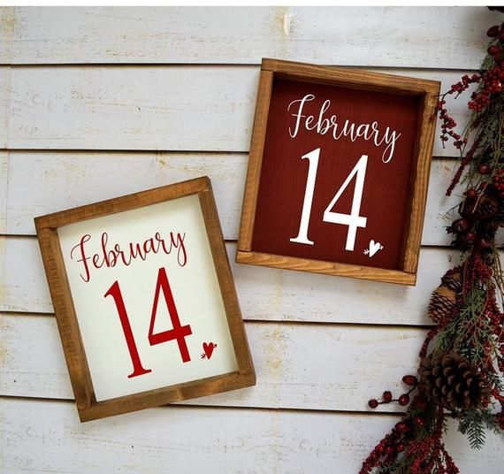 February 14 Sign-Wood Sign-Valentines Day Decorations-Wood Framed Sign-Farmhouse Decor-Valentines Decor