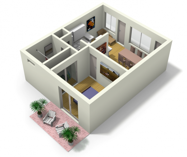 Small Apartments Design Plans small apartment design for live/work: 3d floor plan and tour | my