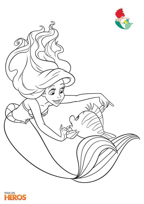Coloriage Disney Princesses Ariel La Petite Sirène Et Son