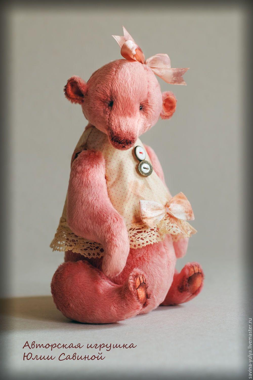 Купить Розовый мишка - мишка ручной работы, мишка девочка, миша, авторская ручная работа