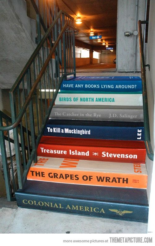 Stairs as children's Books, on the way to the school library !