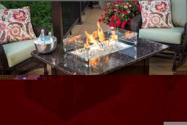 Grandstone Fire Pit Table - Blk Wicker Base - Black Granite Top