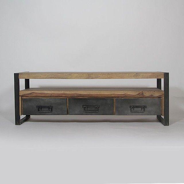 Meuble TV industriel 3 tiroirs en bois de Palissandre RA9A Wood