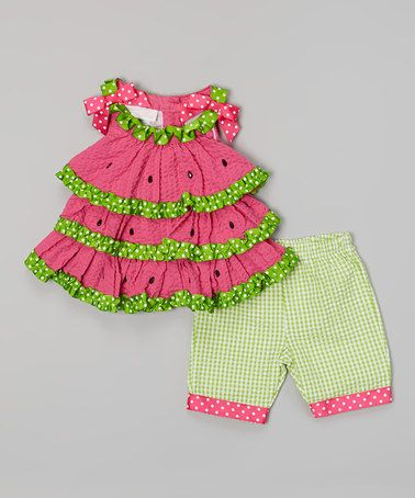 Pink Watermelon Tiered Dress & Green Gingham Leggings - Infant by Gerson & Gerson #zulily #zulilyfinds
