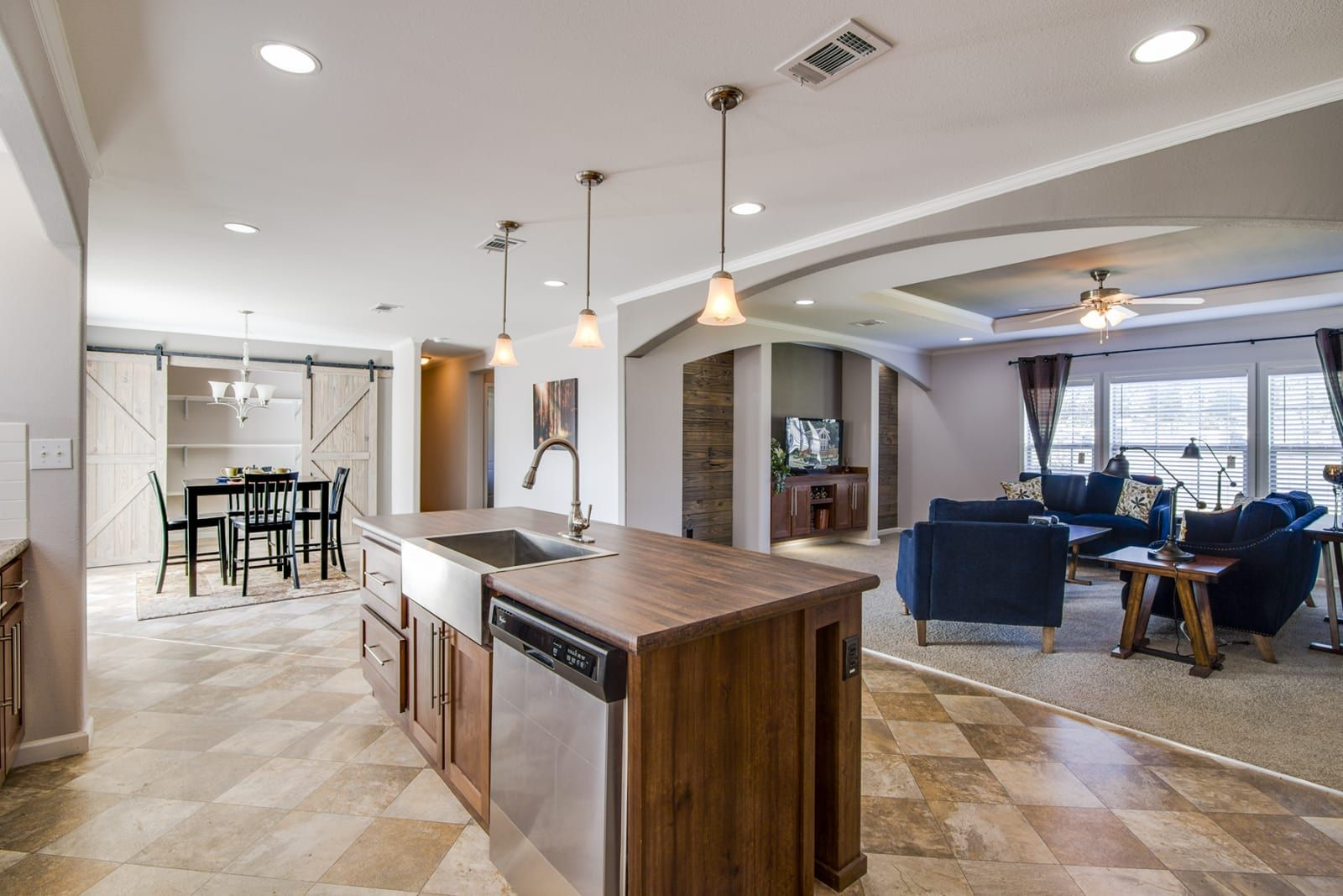 Large Open Concept Floor Plan With Living Room Kitchen And Dining