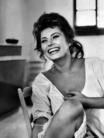 'Actress Sophia Loren Laughing While Exchanging Jokes During Lunch Break on a Movie Set' Premium Photographic Print - Alfred Eisenstaedt | AllPosters.com