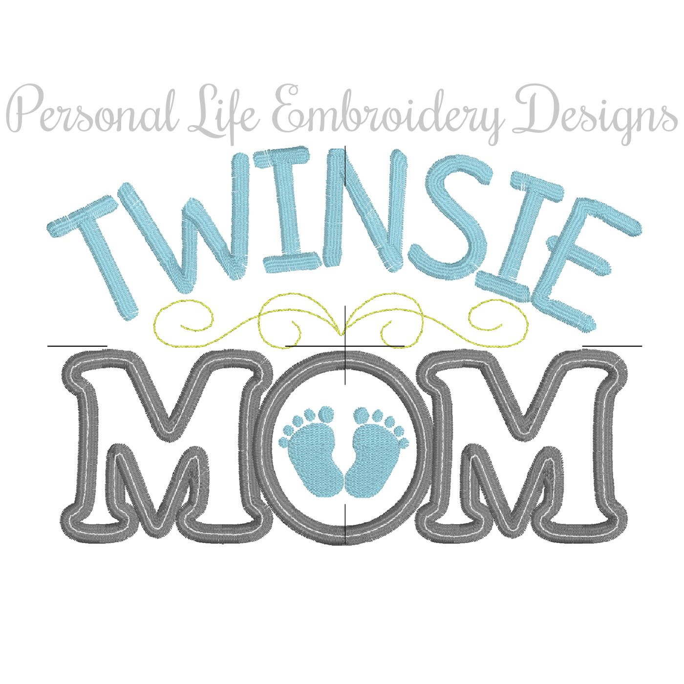 Twinsie Mom Twins Mothers Day Baby Shower Machine Embroidery Design ...
